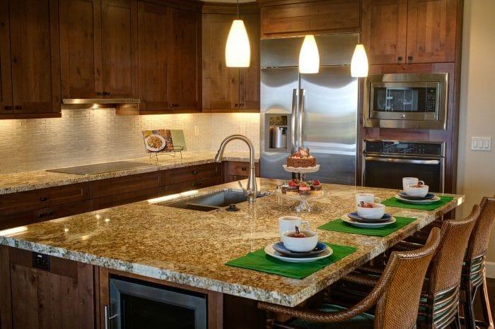 kitchen with modern stone worktop
