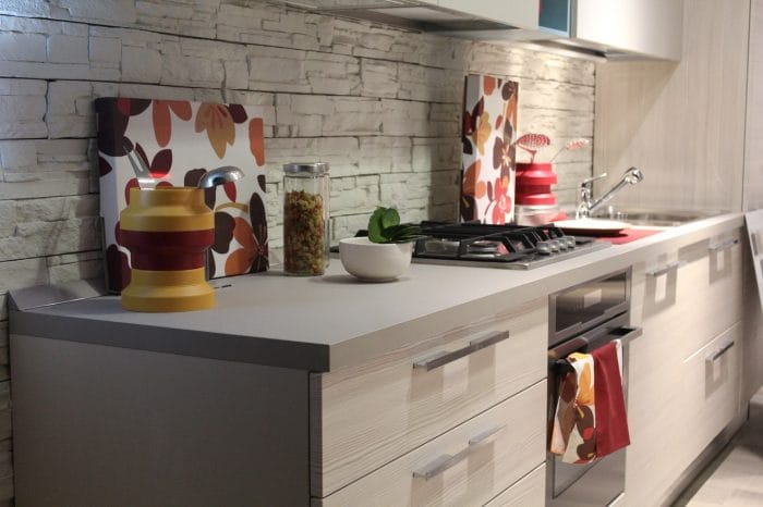 modern kitchen with leaf inspired details