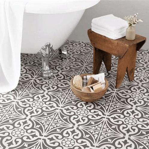 victorian style tiled bathroom floor