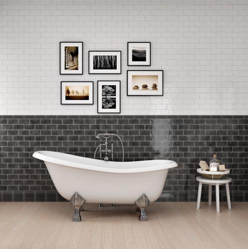 monochrome bathroom with framed photographs