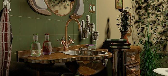 green hued rustic bathroom