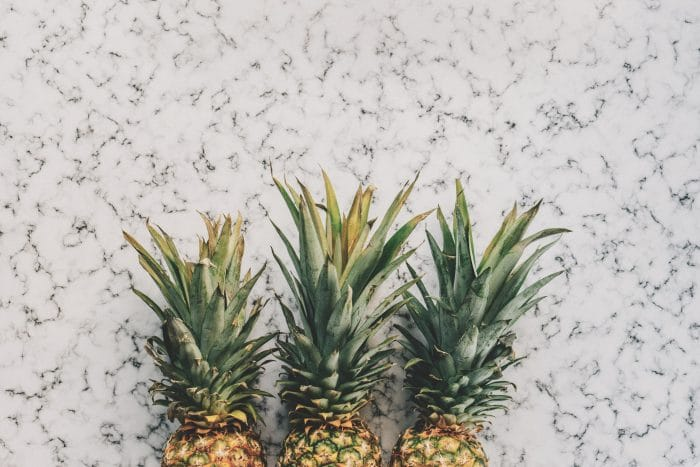 pineapples with marble background