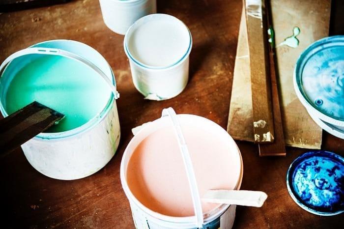 Pots of coloured paint