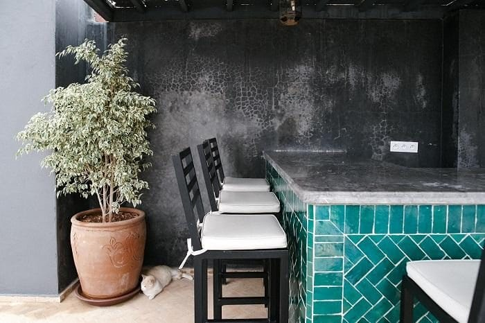 Outdoor bar area with tiled front