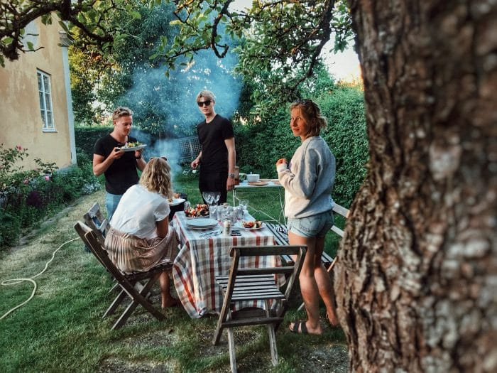 young people barbecueing