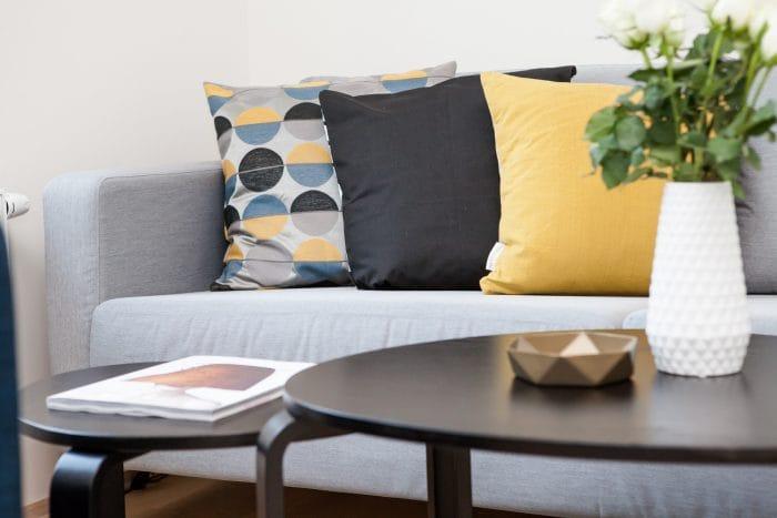 cushion decoration on sofa
