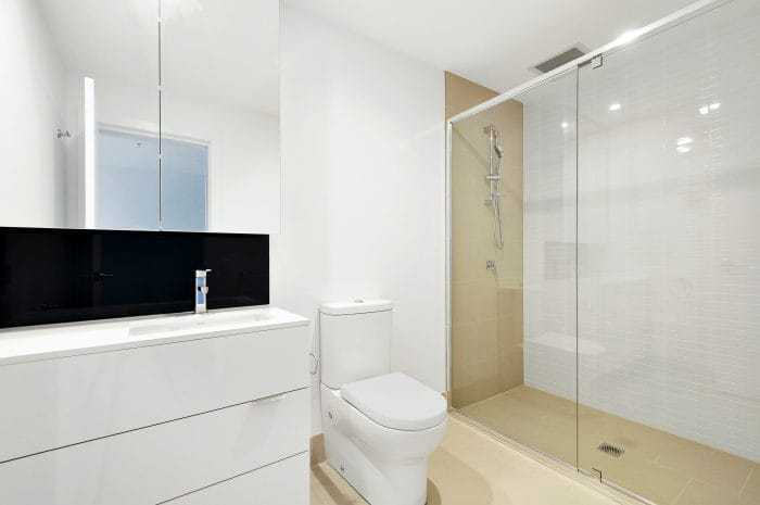 shower room with white bathroom suite