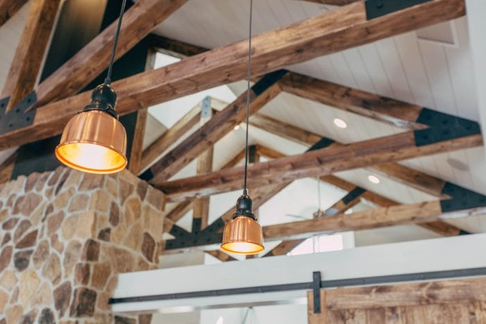 ceiling beams and lights