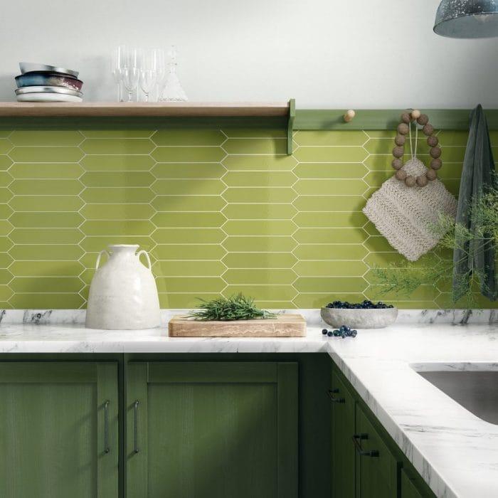 green L-shaped kitchen