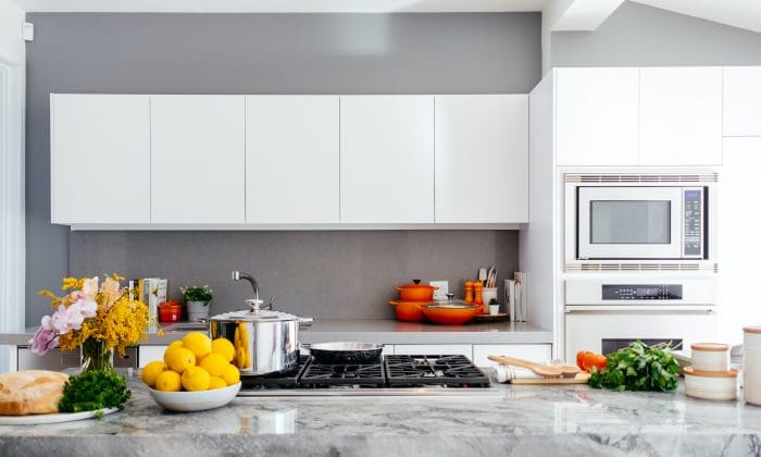 galley kitchen with food on worktops