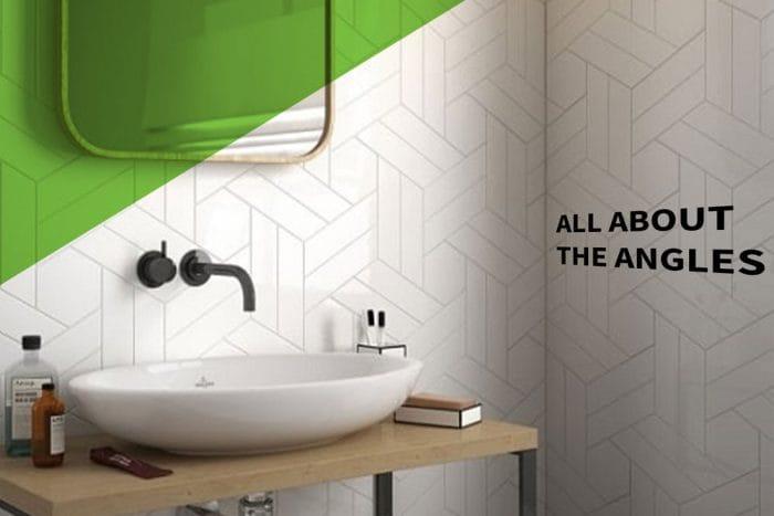 cream chevron tiles in geometric design