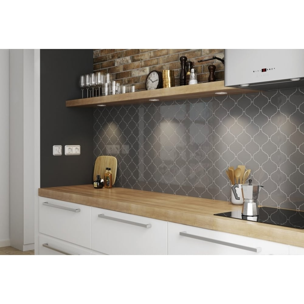 Alhambra Dark Grey Gloss 12cm X 12cm Wall Tile