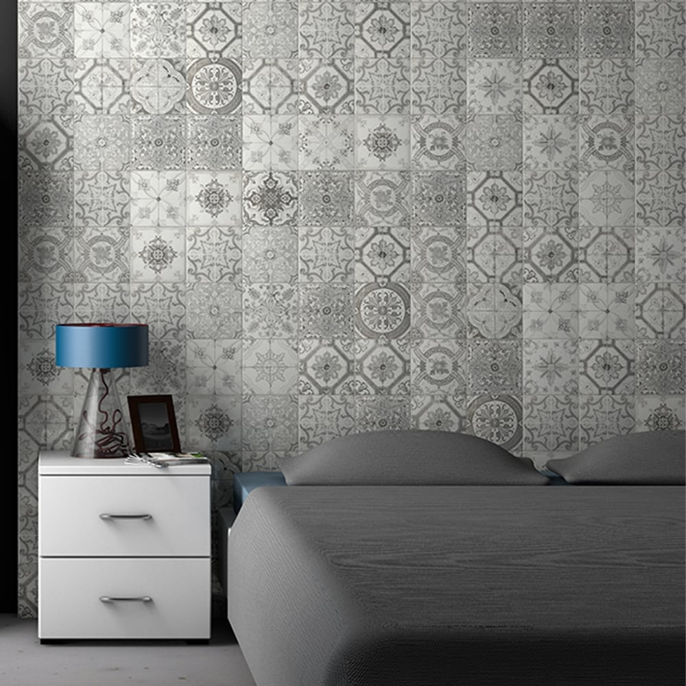 Antalya Grey Pattern 20cm X 20cm Wall Tile