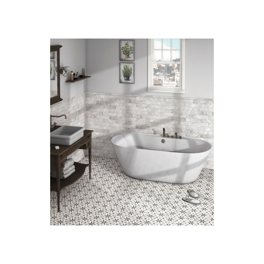 Bardiglio Flower Hexagon 17.5cm x 20cm Wall & Floor Tile