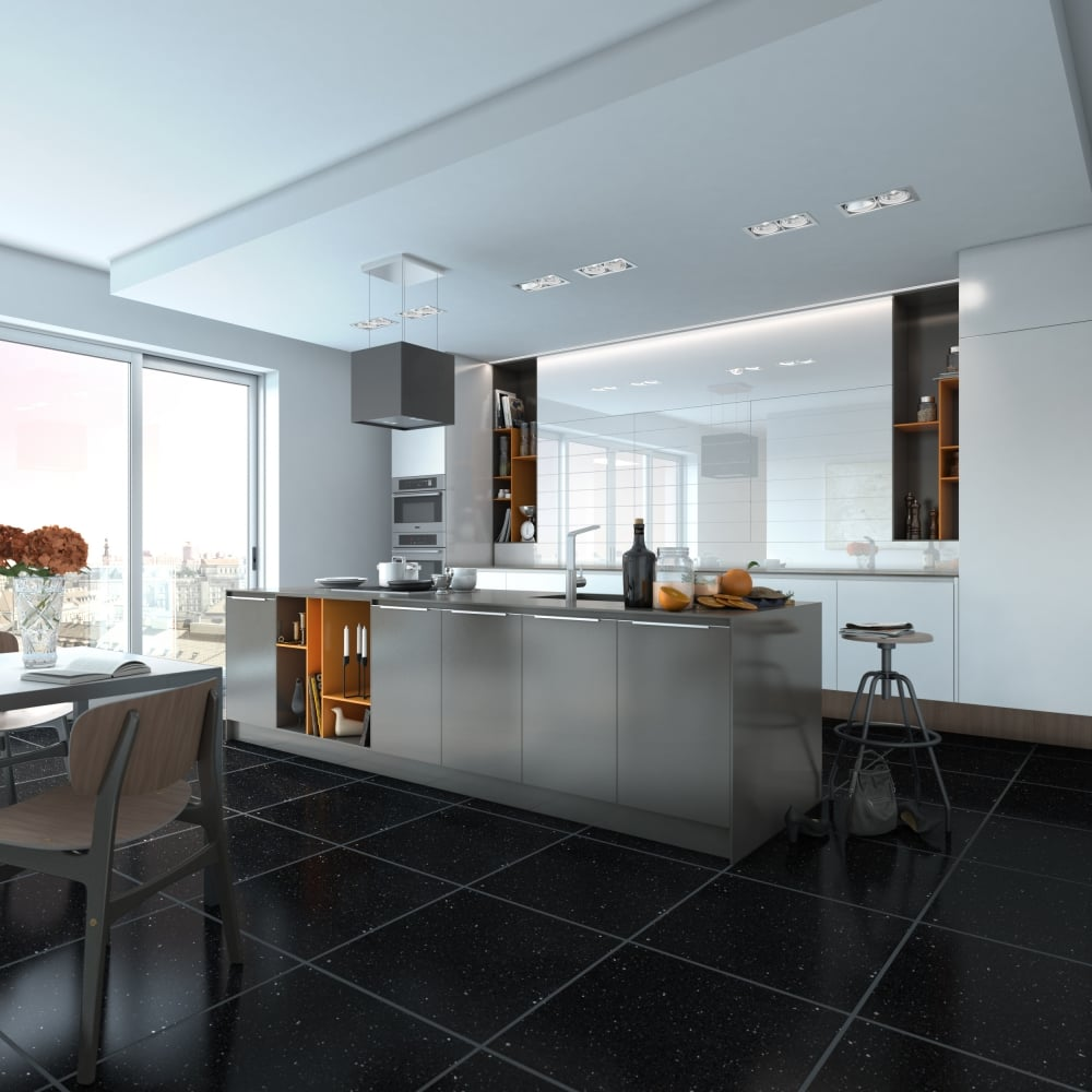 Black Fine Grain Gulfstone Quartz 9cm x 9cm Wall & Floor Tile