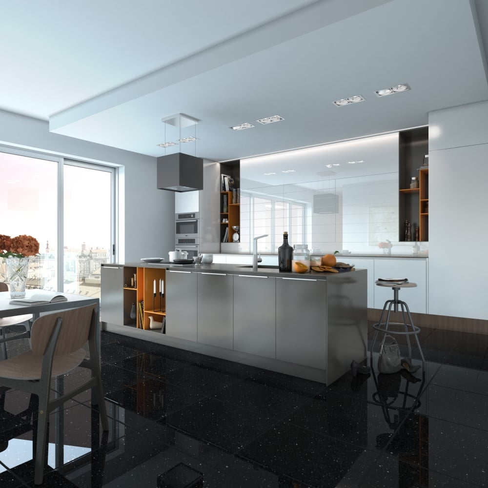 Black Opal Gulfstone Quartz 30cm X 30cm Wall Floor Tile