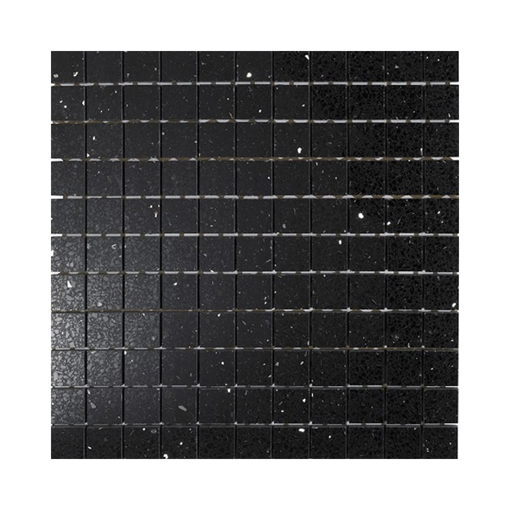 Black Opal Gulfstone Quartz Mosaic X 30cm X 30cm Wall Tile