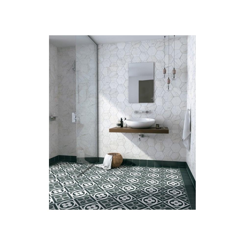 Carrara Hexagon White 17.5cm x 20cm Wall & Floor Tile