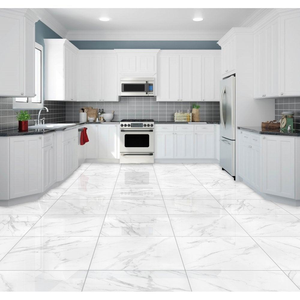 Carrara White Gloss Marble Effect Rectified Porcelain 9cm x 9cm Wall &  Floor Tile