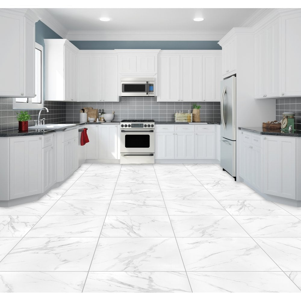 carrara white matt marble effect rectified porcelain 60cm x 60cm wall floor tile