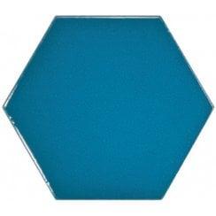 c4016039429 Chevron Hexagon Electric Blue 12.4cm x 10.7cm Wall Tile PER BOX