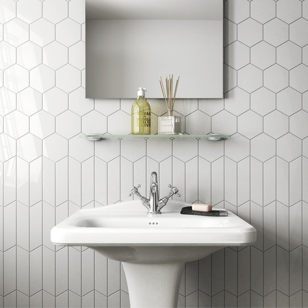 Chevron Hexagon White 12.4cm x 10.7cm Wall Tile PER BOX