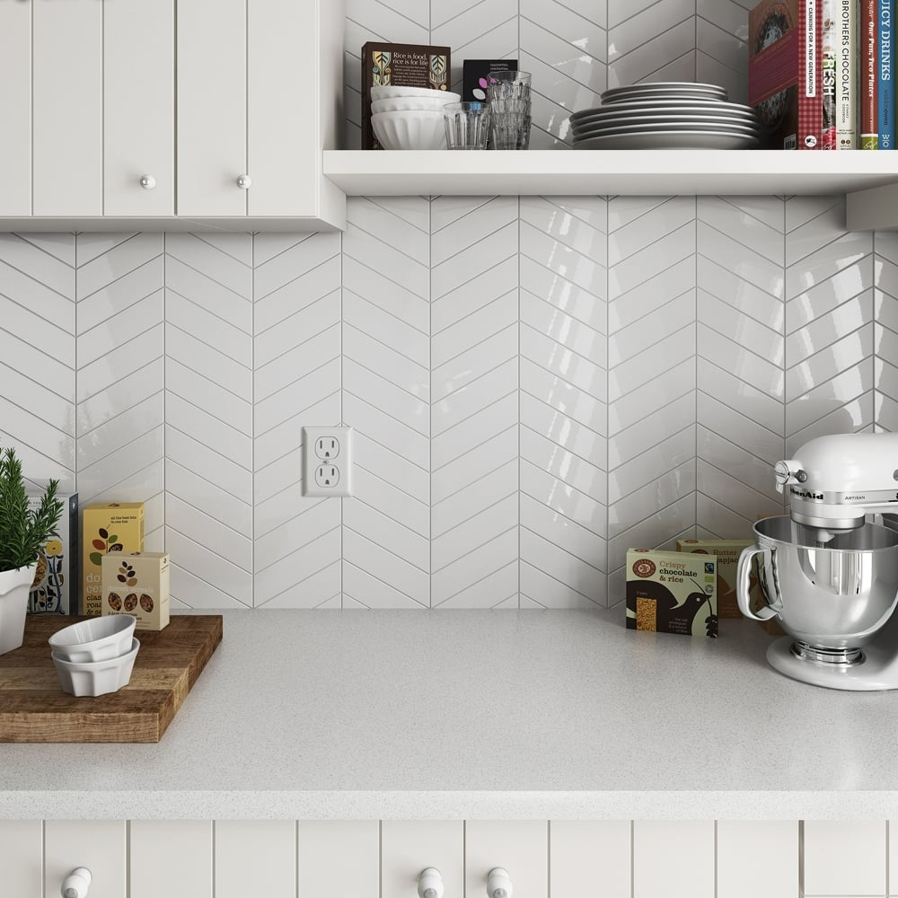 Chevron White Left 18.6 x 5.2cm Wall Tile PER BOX