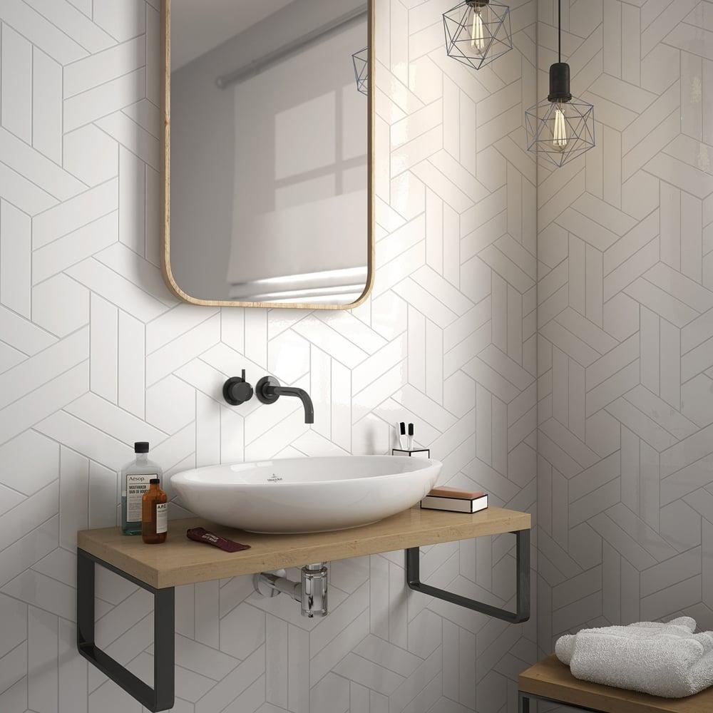Chevron White Right 18.6 x 5.2cm Wall Tile PER BOX