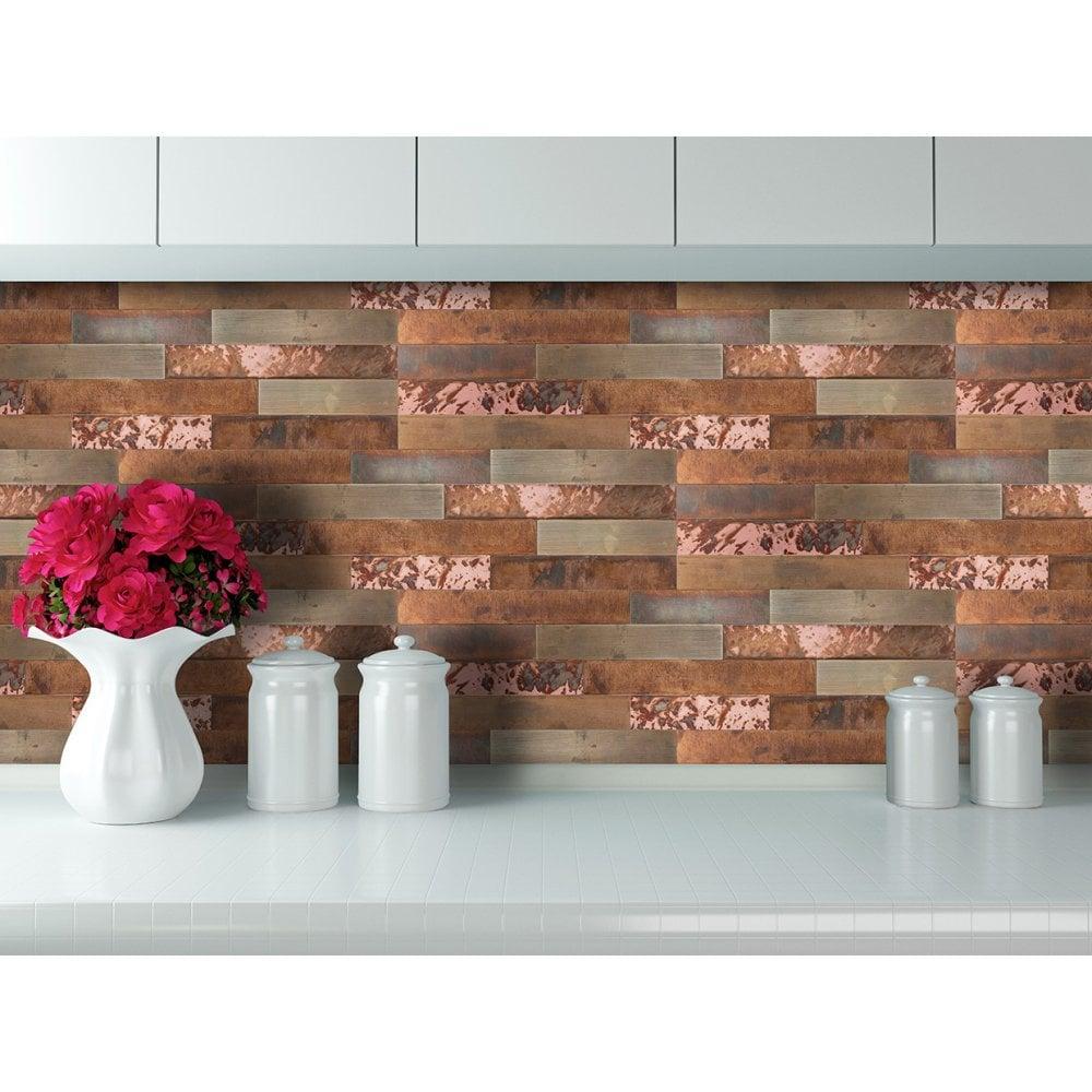 - Copper Inferno 15cm X 60cm Peel & Stick Panel Tile
