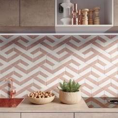 Cut Down Sample of Reverse Metro Bone Ceramic Wall Tile 10 x 20cm