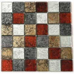 Essence Harvest Square Mix Effect 30cm x 30cm Glass Mosaic