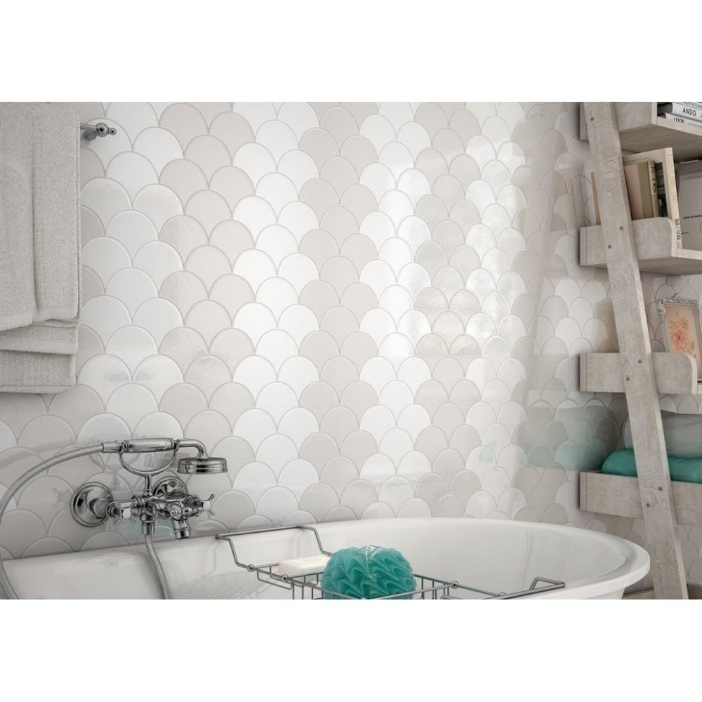Fan Light Grey Gloss 10.6cm x 12cm Wall Tile