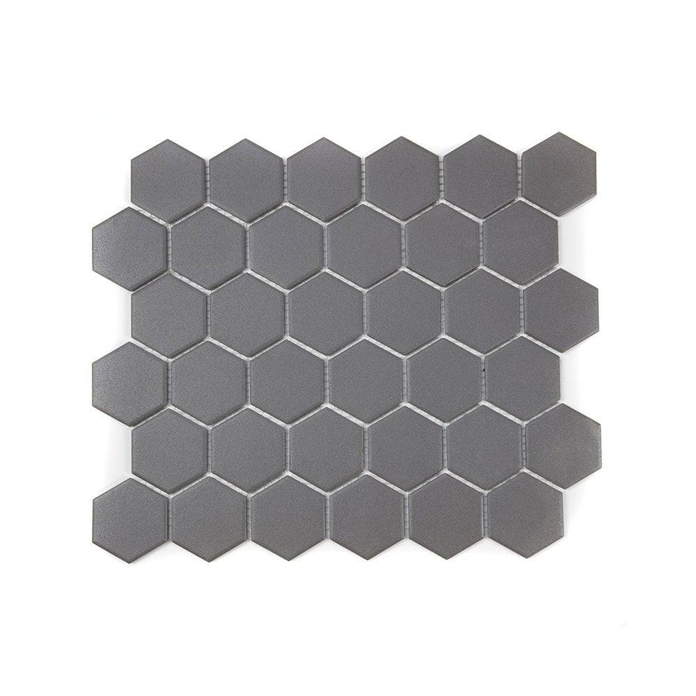 Full Body Hexagon Matt Dark Grey Mosaic
