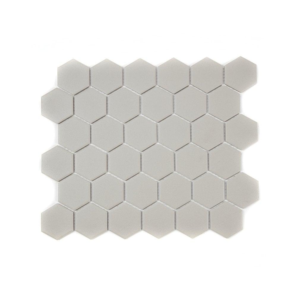 Full Body Hexagon Matt Light Grey Mosaic 32 5cm X 28 1cm