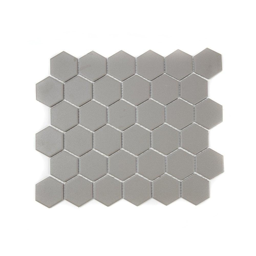Full Body Hexagon Matt Medium Grey Mosaic 32 5cm X 28 1cm Wall Floor Tile