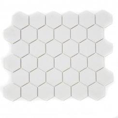 Full Body Hexagon Matt Off White Mosaic 32 5cm X 28 1cm Wall Floor Tile