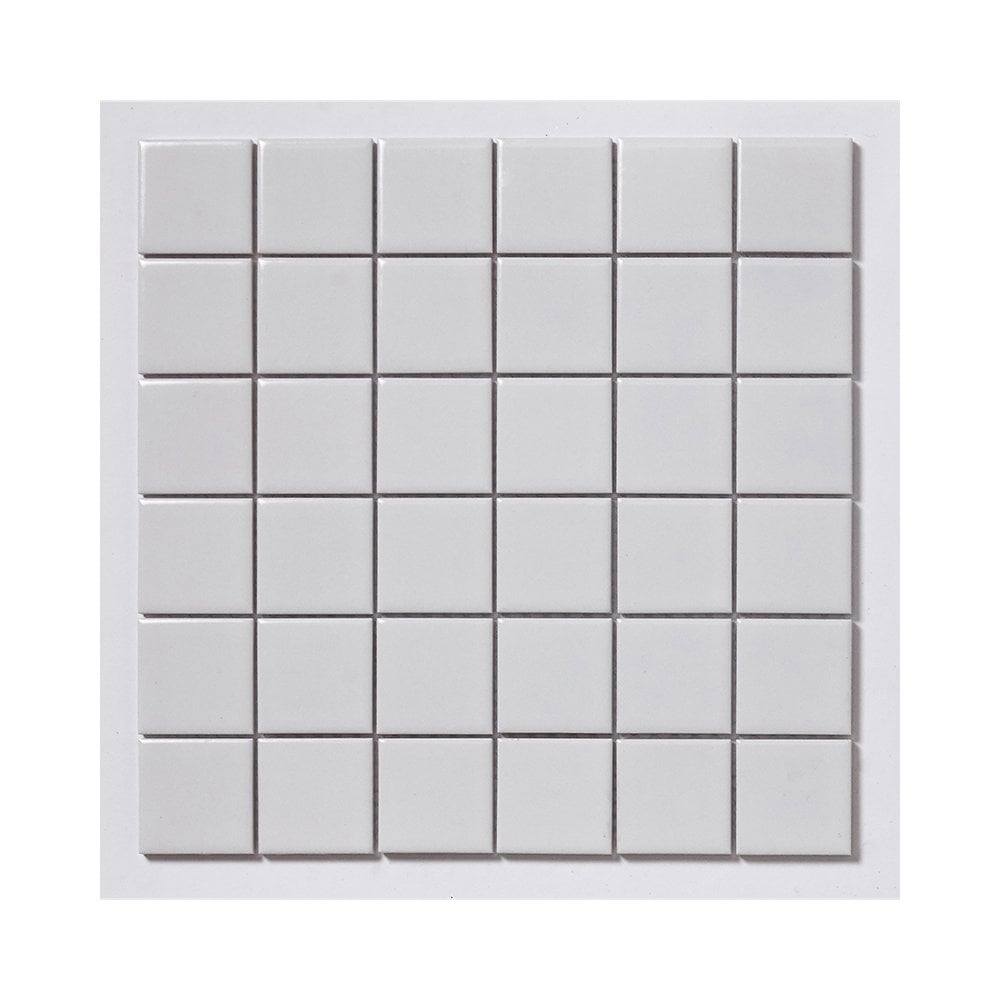 White Gloss Wall Floor Tile: Gloss White Square Large 30cm X 30cm (4.8cm X 4.8cm) Wall