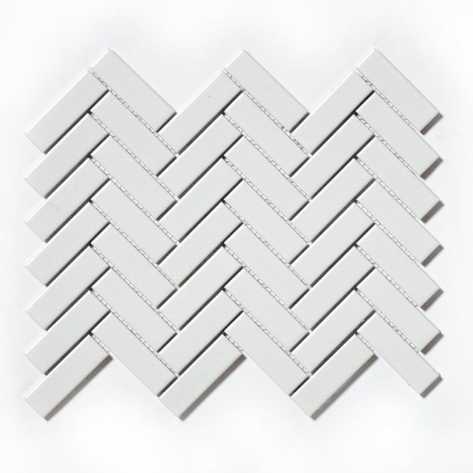 Herringbone White Gloss 31 8cm X 24 7cm