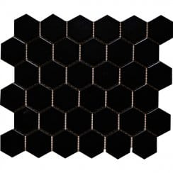 Hexagon Gloss Black (4.8cm x 4.8cm) 32cm x 28cm Mosaic Tile