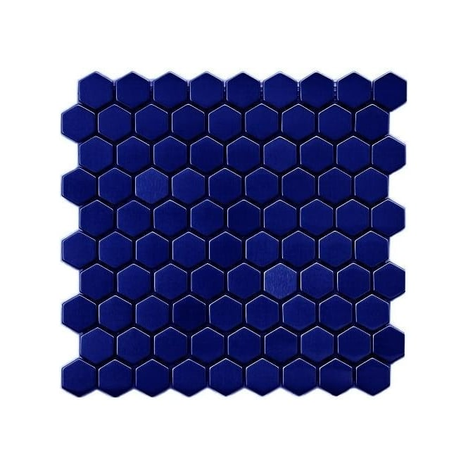 Hexagon Gloss Royal Blue 3 4cm X 3 4cm 30cm X 30cm