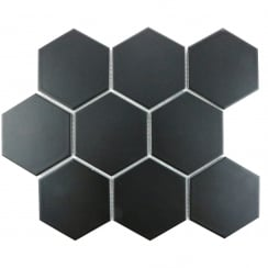 Hexagon Matt Black Mosaic 9.5cm x 9.5cm Wall & Floor Tile