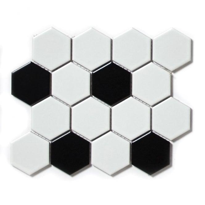 Hexagon Matt Black & White Mix 21.7cm X 18.7cm Mosaic Tile