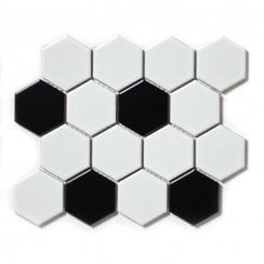 Hexagon Matt Black White Mix 4 8cm X 21 7cm