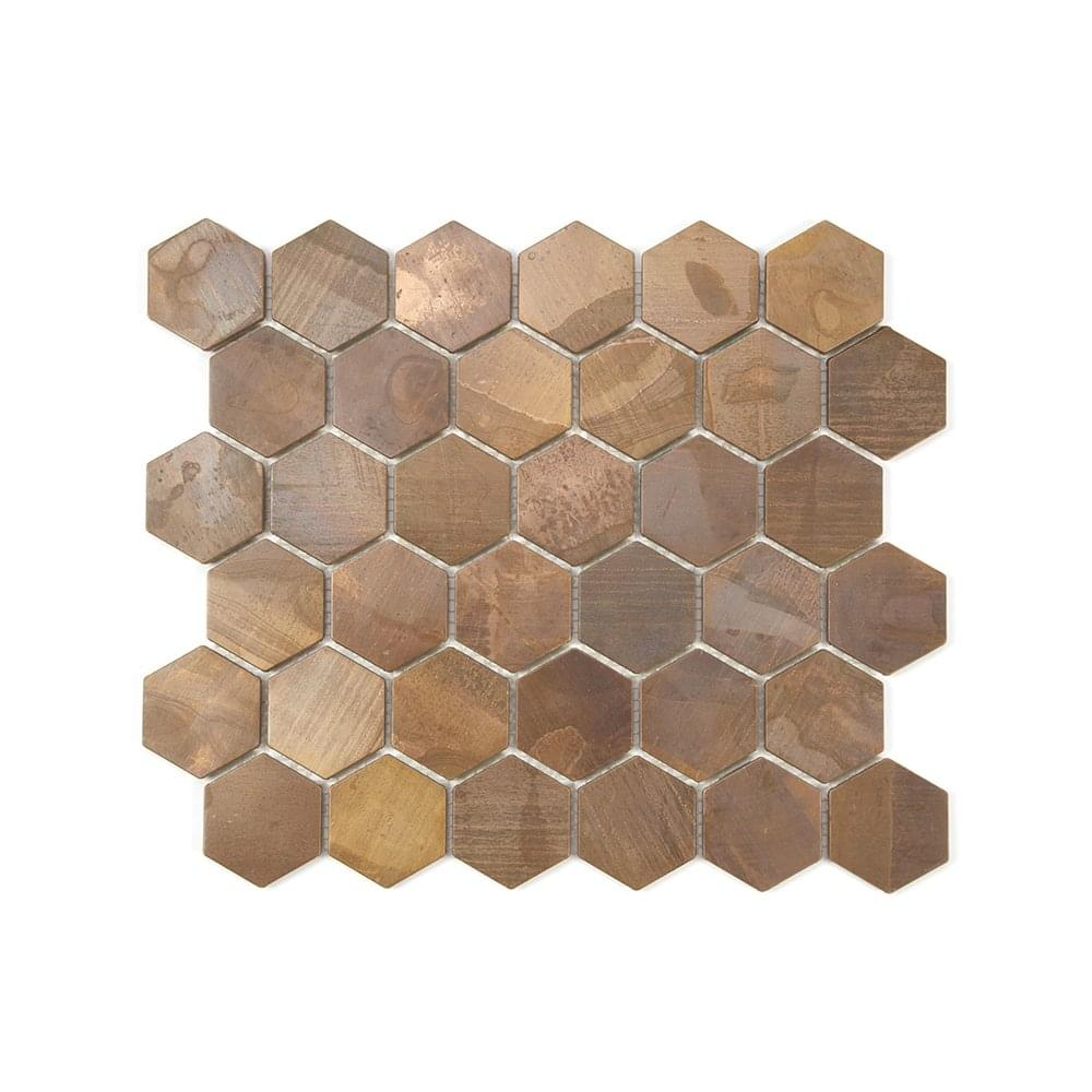 Hexagon Oxidised Copper 29 5cm X 30 5cm Mosaic Tile