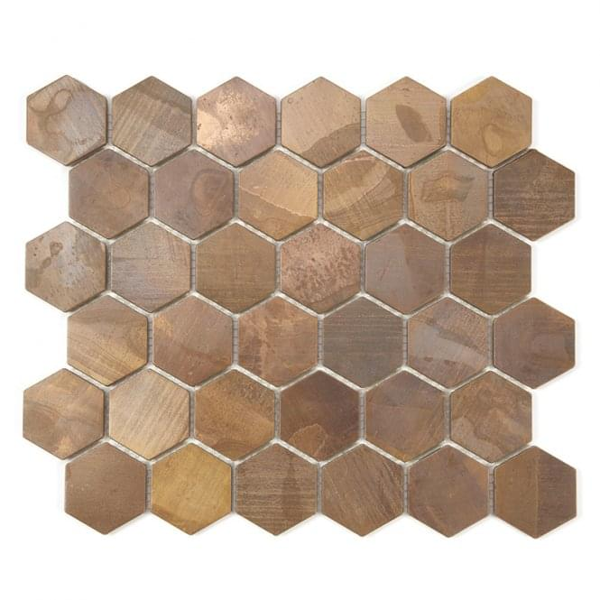 Hexagon Oxidised Copper 29 5cm X 30 5cm Mosaic Tile