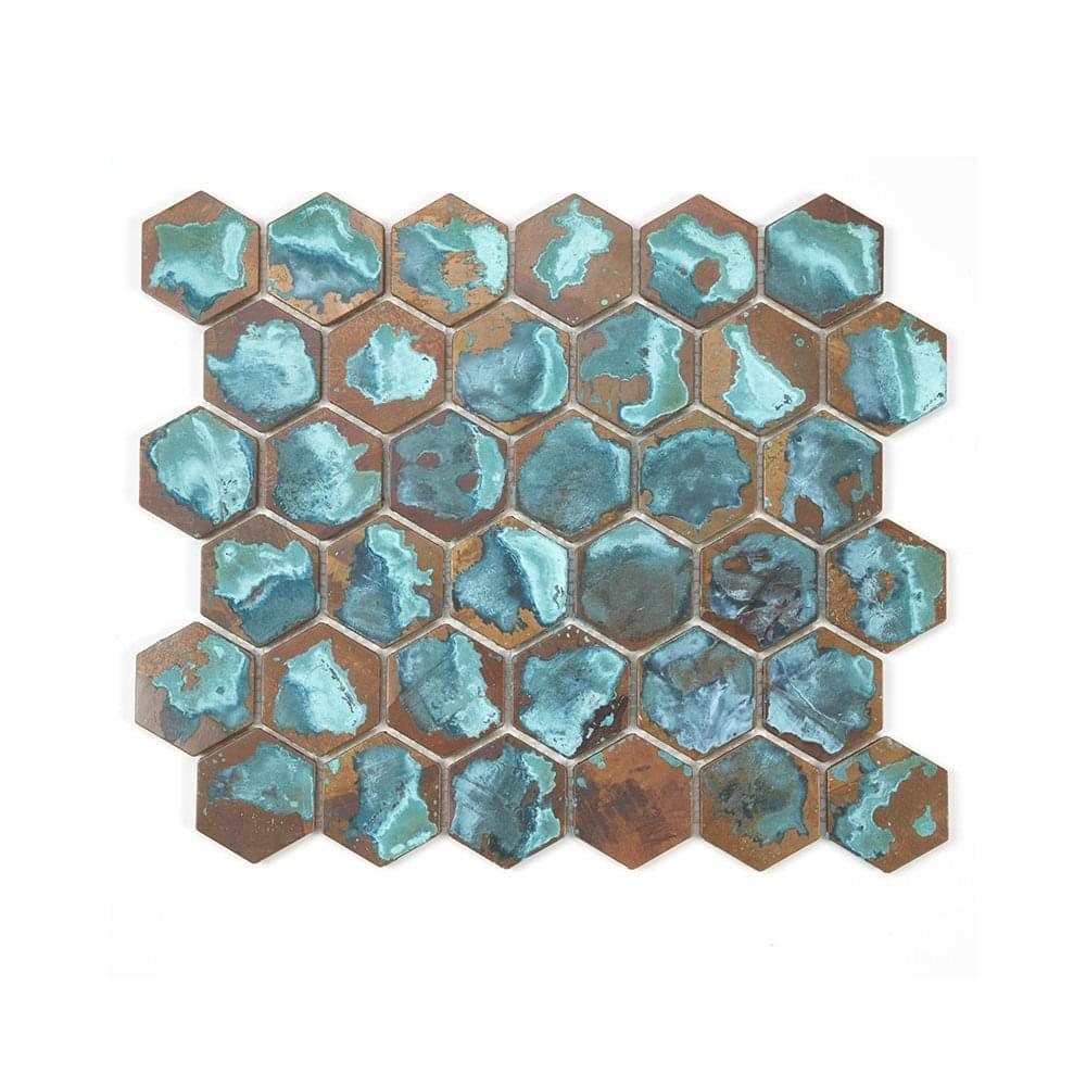 Hexagon Oxidised Forest 29.5cm x 30.5cm Mosaic Tile