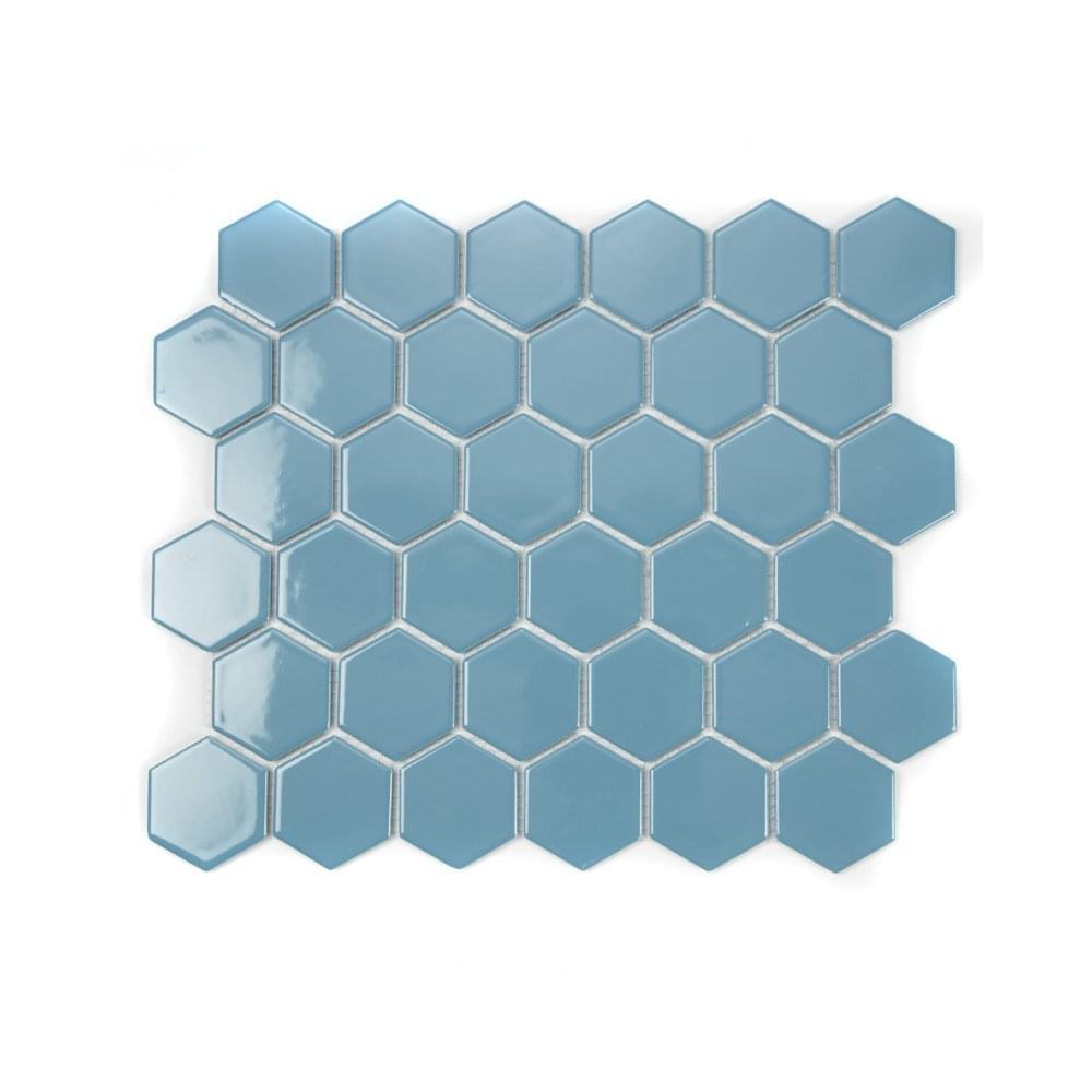 Hexagon Teal Gloss 32.5cm x 28.1cm Mosaic Tile