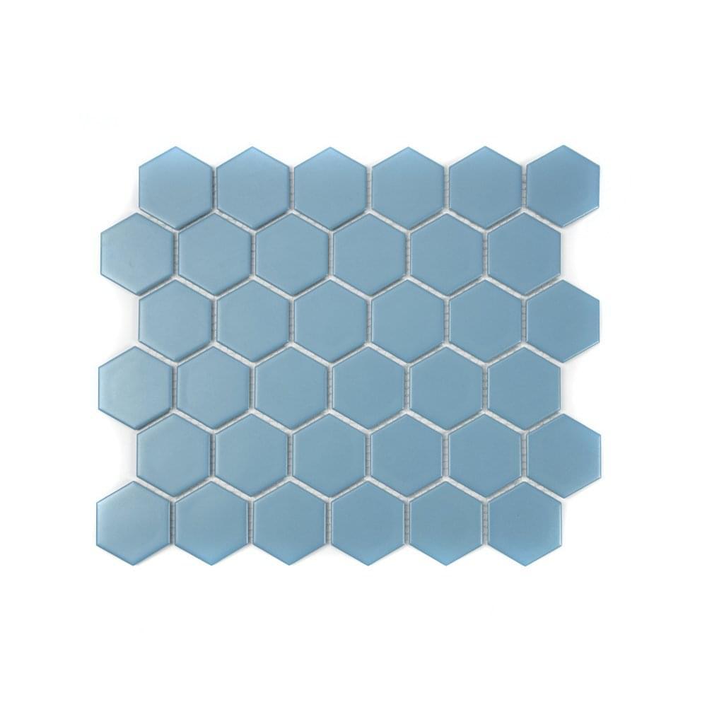 Hexagon Teal Matt 32.5cm x 28.1cm Mosaic Tile