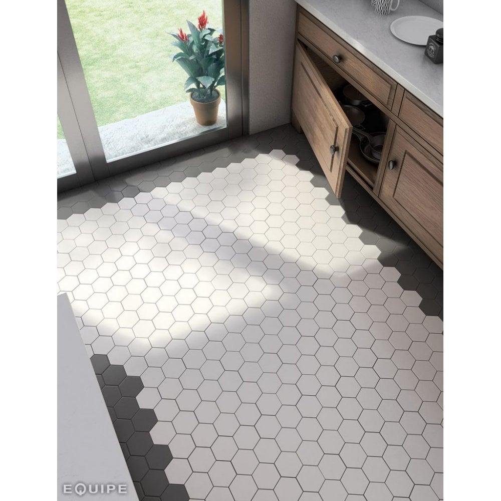 Hexagon White Matt 11 6cm X 10cm Porcelain Wall Floor Tile