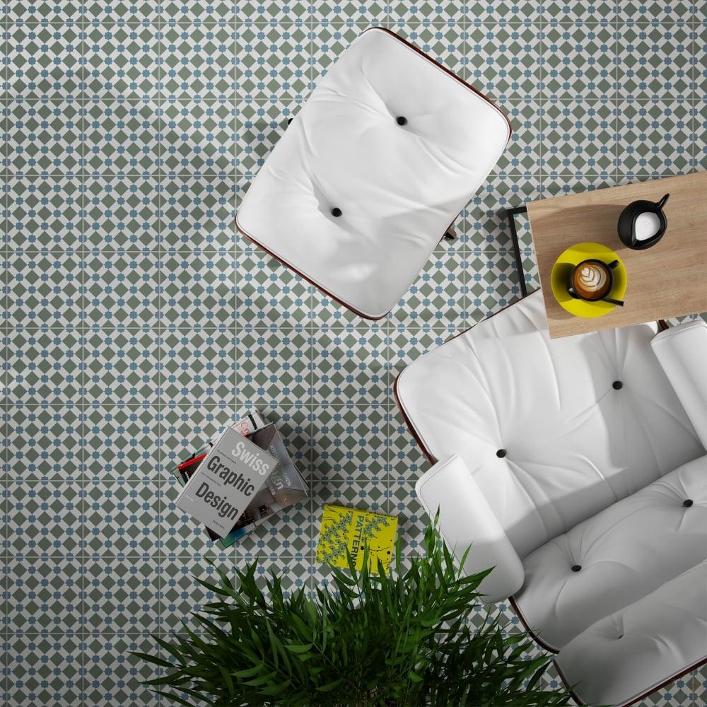 HLine Effect Cool 45cm x 45cm Wall & Floor Tile